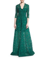 Carolina Herrera 3 4 Sleeve Floral Lace Gown Black Green Emerald