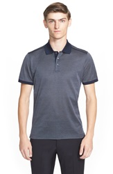 Canali Diamond Print Short Sleeve Polo Grey