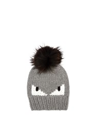 Fendi Bag Bugs Knitted Bobble Hat Grey