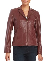 Cole Haan Signature Faux Leather Jacket Burgundy