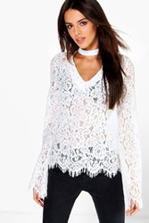 Boohoo Choker Detail All Over Lace Blouse White