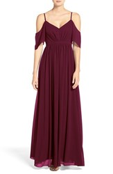 Lulus Women's Lulu's Off The Shoulder Gathered Chiffon Gown Burgundy
