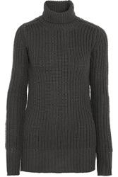 Rick Owens Chunky Knit Wool Turtleneck Sweater Gray