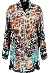 Just Cavalli Printed Silk Satin Shirt Brown
