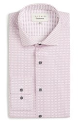 Ted Baker Men's Big And Tall London Rosewel Trim Fit Geometric Dress Shirt Pink