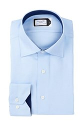 Lorenzo Uomo Long Sleeve Trim Fit Two Tone Oxford Wrinkle Free Dress Shirt Blue