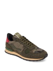 Valentino Army Felt Roc Calf Leather Runner Sneakers Army Green