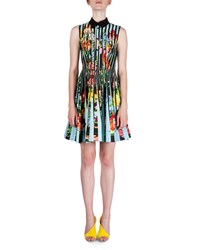 Mary Katrantzou Sleeveless Floral Print And Striped Shirtdress Turquoise