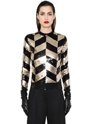 Max Mara Geometric Sequined Wool Knit Sweater