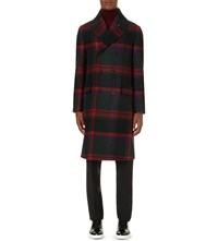 Burberry Oversize Check Wool Coat Dark Teal