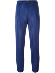 Issey Miyake Pleats Please By Slim Fit Cropped Trousers Blue