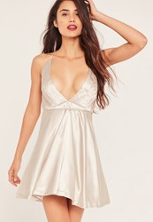 Missguided Nude Silky Pleated Skater Dress Champagne