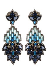 Suzanna Dai Women's 'Vietri' Large Drop Earrings Navy Teal