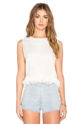 Lucca Couture Linen Shell Fringe Top Cream