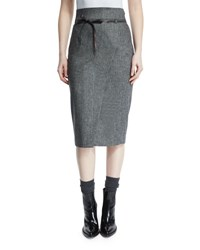 Brunello Cucinelli High Waist Belted Pencil Skirt Onyx