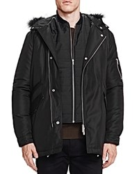The Kooples Heavy Nylon And Leather Coat Black