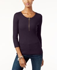 Inc International Concepts Petite Zip Up Ribbed Sweater Only At Macy's Blackberry Jam