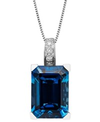 Macy's 14K White Gold Necklace London Blue Topaz 9 1 3 Ct. T.W. And Diamond Accent Emerald Cut Pendant