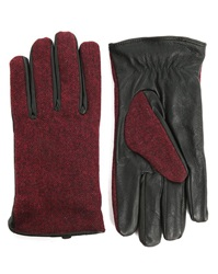Scotch And Soda Burgundy Red Wool And Leather Gloves