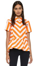 House Of Holland Stripe Shirt Orange White