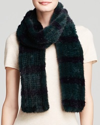 Maximilian Knitted Mink Colorblock Scarf Green Dark Blue