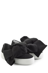 Joshua Sanders Felted Wool Platform Slip On Sneakers With Bows Black