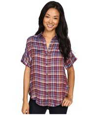 Lucky Brand Short Sleeve Plaid Top Multi Women's Short Sleeve Pullover