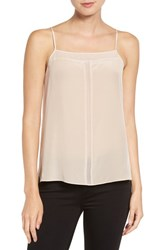Trouve Women's Sheer Inset Silk Camisole Pink Dust