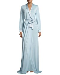 La Perla Airy Blooms Long Robe Light Blue