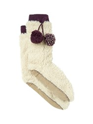White Stuff Fur Top Slipper Sock White
