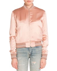 Saint Laurent Love Patch Satin Bomber Jacket Light Pink