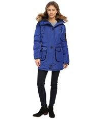 Rainforest Mixed Media Jacket Cobalt Women's Coat Blue