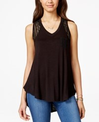 American Rag Lace Trim High Low Tank Top Only At Macy's Classic Black