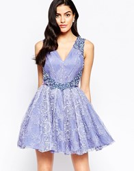 Forever Unique Veronica Lace Skater Dress With Embellishment Lilac Purple