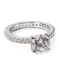 Crislu Sterling Silver Solitaire Pave Stones Ring