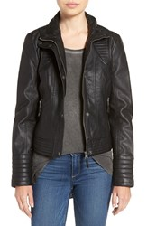 Jessica Simpson Women's Quilted Faux Leather Jacket Black