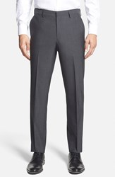 Men's Calibrate Wool And Mohair Flat Front Trousers Grey