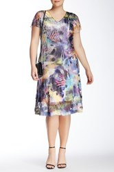 Komarov V Neck Short Sleeve Ruffle Dress Plus Size Multi