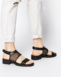 Pieces Tay Black Mesh Insert Mid Heeled Sandals