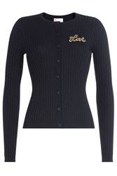 Red Valentino Virgin Wool Cardigan Blue