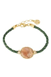 Gas Bijoux 24Kt Gold Plated Metal And Python Bracelet Green