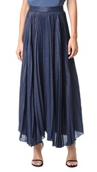 Alice Olivia Katz Sunburst Pleated Maxi Skirt Sapphire