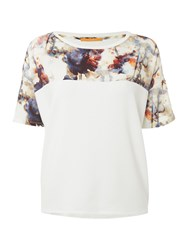 Hugo Boss Tamodern Short Sleeve Contrast Print Top White