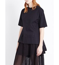 Izzue Pleated Back Poplin Cotton T Shirt Black