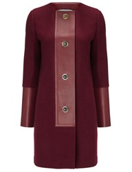 Barbara Casasola Bordeaux Wool And Leather Coat Red