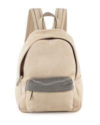 Calfskin Backpack W Monili Straps Dove Brunello Cucinelli