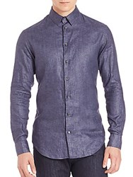 Giorgio Armani Linen Button Down Shirt Denim