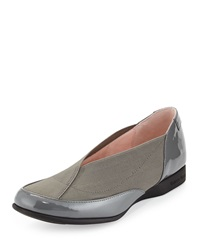 Taryn Rose Treva Patent Leather And Elastic Sport Loafer Graphite