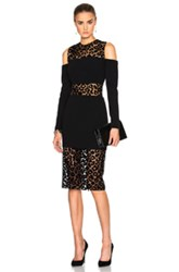 Thierry Mugler Leopard Velour And Fitted Cady Dress In Black