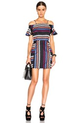 Msgm Off The Shoulder Zig Zag Dress In Black Stripes Blue